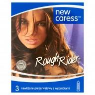 New Caress Rough Rider Nawilżane prezerwatywy z wypustkami 3 sztuki