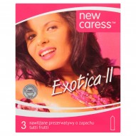 New Caress Exotica II Nawilżane prezerwatywy o zapachu tutti frutti 3 sztuki